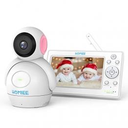 Video Babyphone,HOMIEE 2.0 Babyphone 360°Baby Kamera,5 Zoll LCD Monitor und 300m 2,4GWireless Verbindung, Ton und Temperaturalarm, Nachtsicht, Wiegenlied und Zweiwege Audio, Upgrade Version - 1