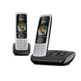 Gigaset C430A Duo 2 schnurlose Telefone mit Anrufbeantworter (DECT Telefon mit Freisprechfunktion, klassische Mobilteile mit TFT-Farbdisplay) schwarz-silber - 1
